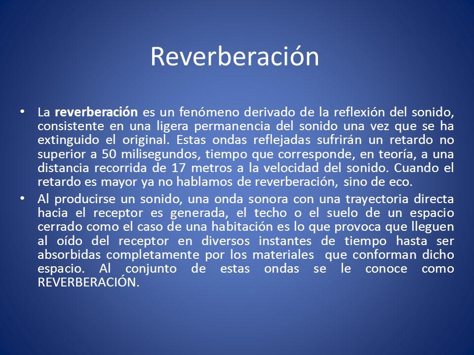 Reverberación La reverberación es un fenómeno derivado de la reflexión del sonido, consistente en una ligera permanencia del sonido una vez que se ha