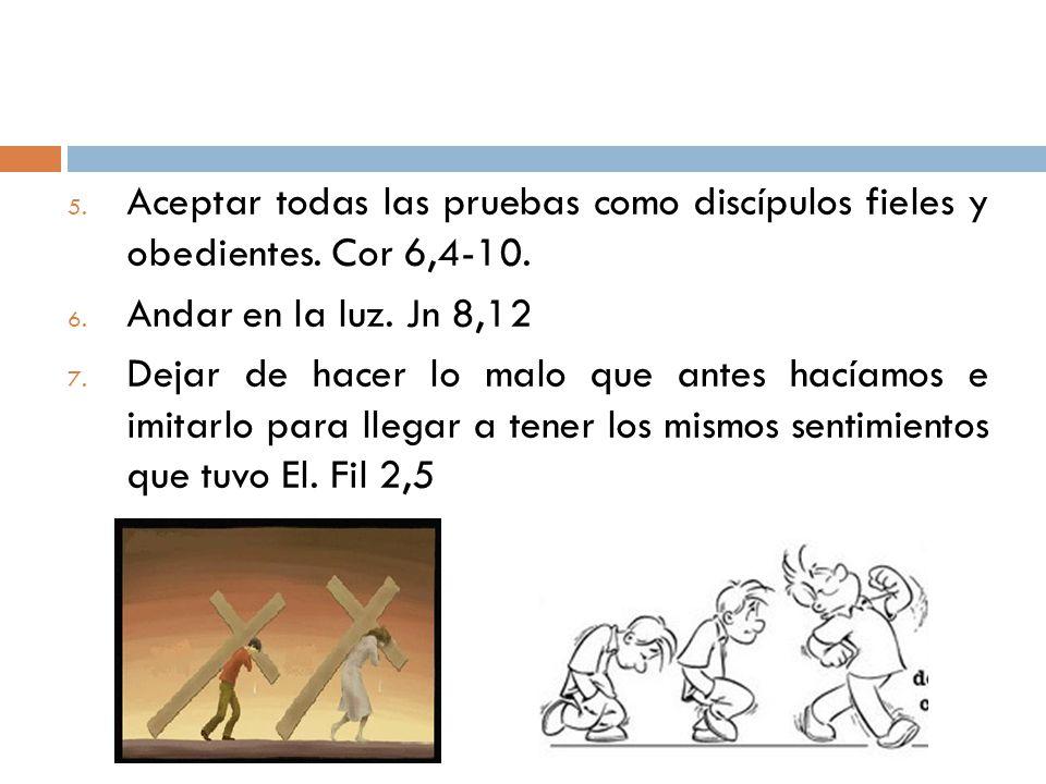 5. Aceptar todas las pruebas como discípulos fieles y obedientes. Cor 6,4-10. 6. Andar en la luz. Jn 8,12 7. Dejar de hacer lo malo que antes hacíamos