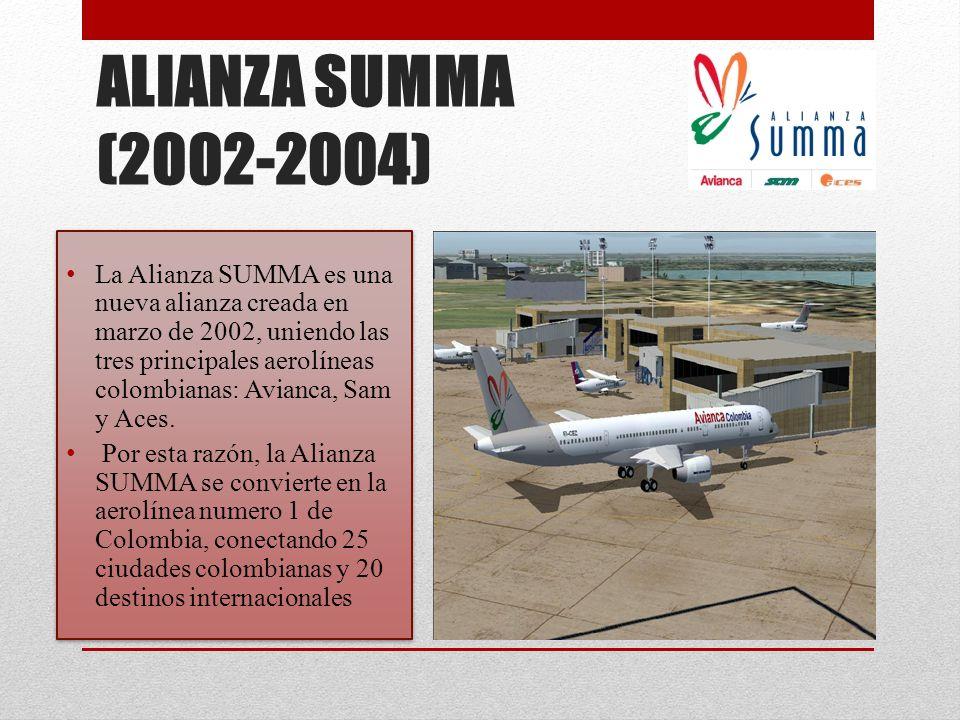 ALIANZA SUMMA (2002-2004) La Alianza SUMMA es una nueva alianza creada en marzo de 2002, uniendo las tres principales aerolíneas colombianas: Avianca,