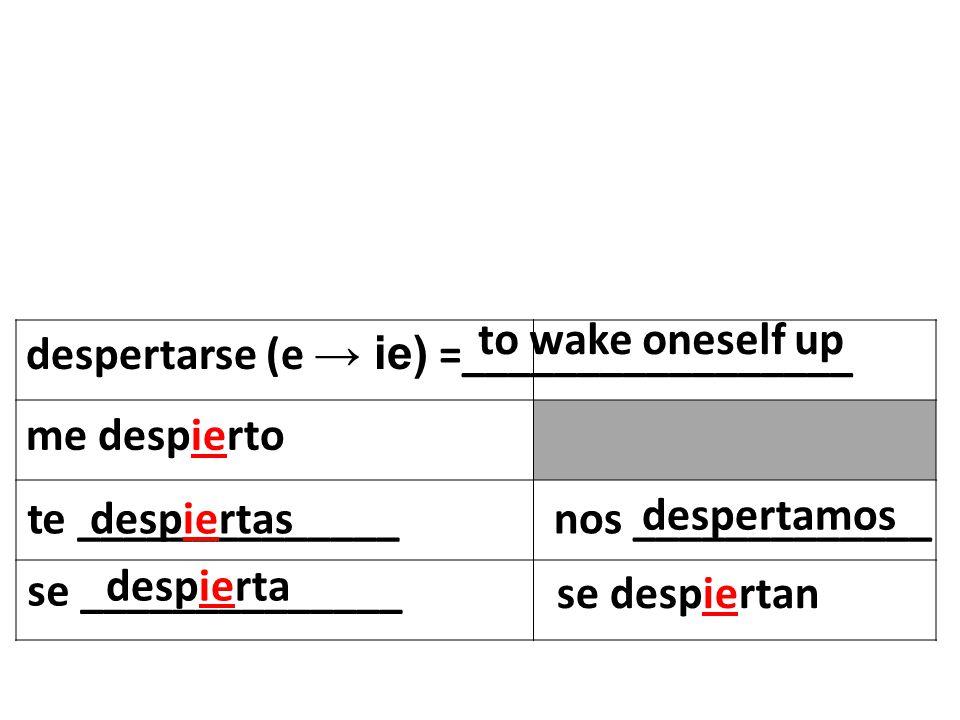 despertarse (e ie) =_________________ to wake oneself up me despierto te ______________ se ______________ nos _____________ se despiertan despiertas despierta despertamos