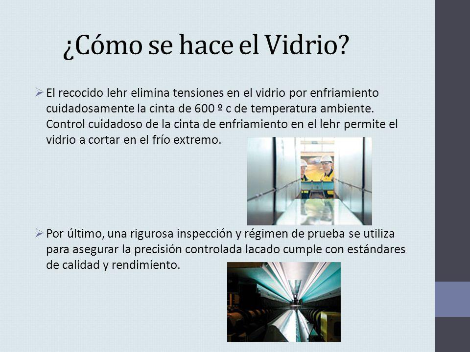 ¿Cómo se hace el Vidrio? El recocido lehr elimina tensiones en el vidrio por enfriamiento cuidadosamente la cinta de 600 º c de temperatura ambiente.