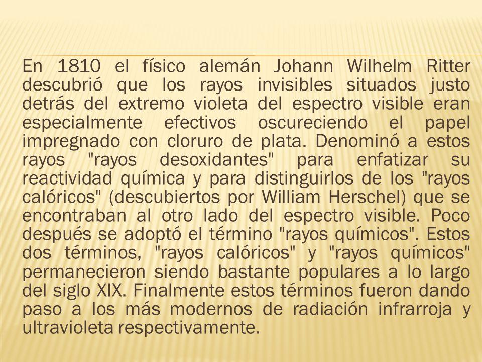 En 1810 el físico alemán Johann Wilhelm Ritter descubrió que los rayos invisibles situados justo detrás del extremo violeta del espectro visible eran