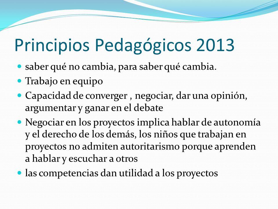 Principios Pedagógicos 2013 saber qué no cambia, para saber qué cambia.