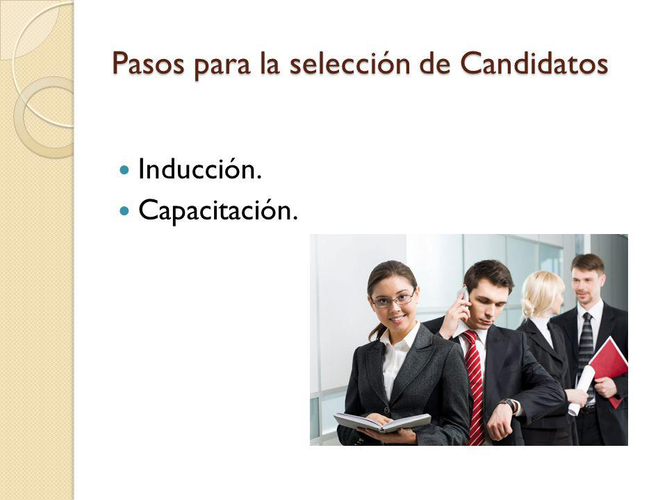 Pasos para la selección de Candidatos Inducción. Capacitación.