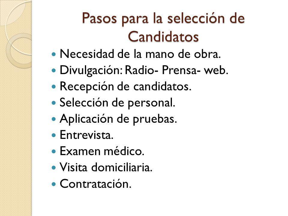 Pasos para la selección de Candidatos Necesidad de la mano de obra. Divulgación: Radio- Prensa- web. Recepción de candidatos. Selección de personal. A