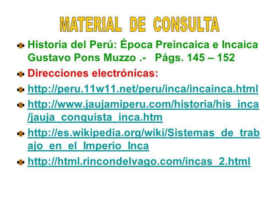 Historia del Perú: Época Preincaica e Incaica Gustavo Pons Muzzo.- Págs. 145 – 152 Direcciones electrónicas: http://peru.11w11.net/peru/inca/incainca.