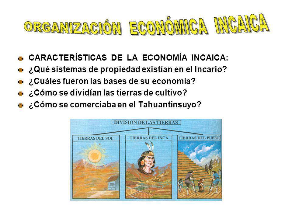 CARACTERÍSTICAS DE LA ECONOMÍA INCAICA: ¿Qué sistemas de propiedad existían en el Incario? ¿Cuáles fueron las bases de su economía? ¿Cómo se dividían