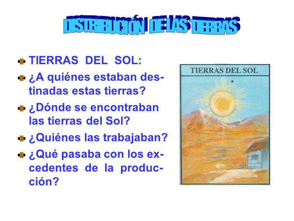 TIERRAS DEL SOL: ¿A quiénes estaban des- tinadas estas tierras? ¿Dónde se encontraban las tierras del Sol? ¿Quiénes las trabajaban? ¿Qué pasaba con lo