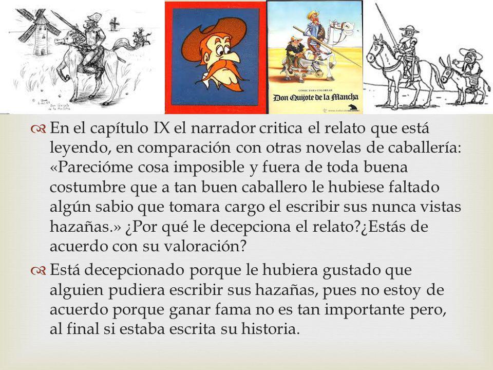 En el capítulo IX el narrador critica el relato que está leyendo, en comparación con otras novelas de caballería: «Parecióme cosa imposible y fuera de