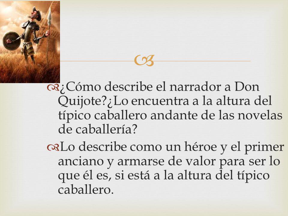 ¿Cómo describe el narrador a Don Quijote?¿Lo encuentra a la altura del típico caballero andante de las novelas de caballería? Lo describe como un héro