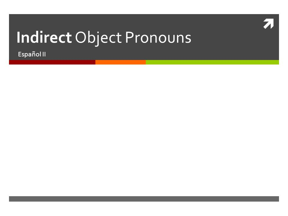 Indirect Object Pronouns Español II