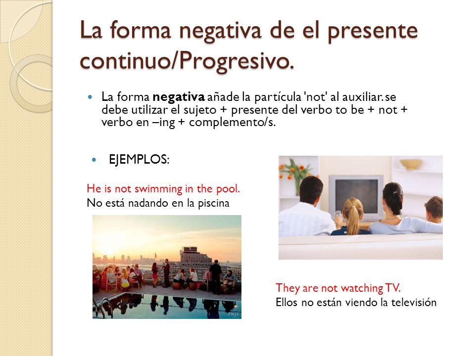 La forma negativa de el presente continuo/Progresivo.