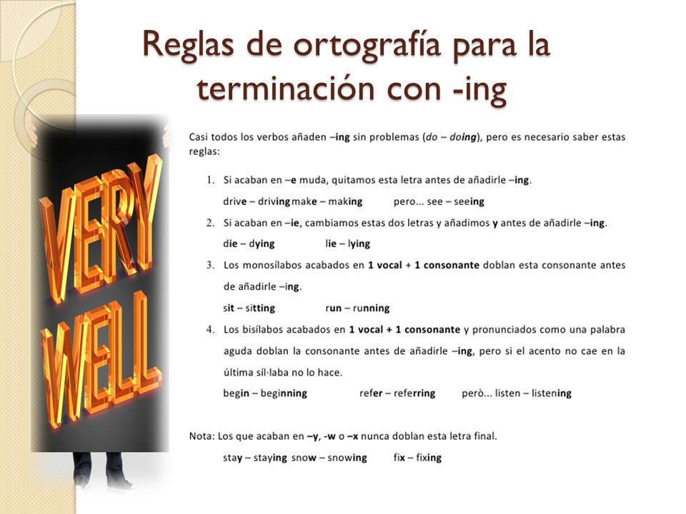 Reglas de ortografía para la terminación con -ing