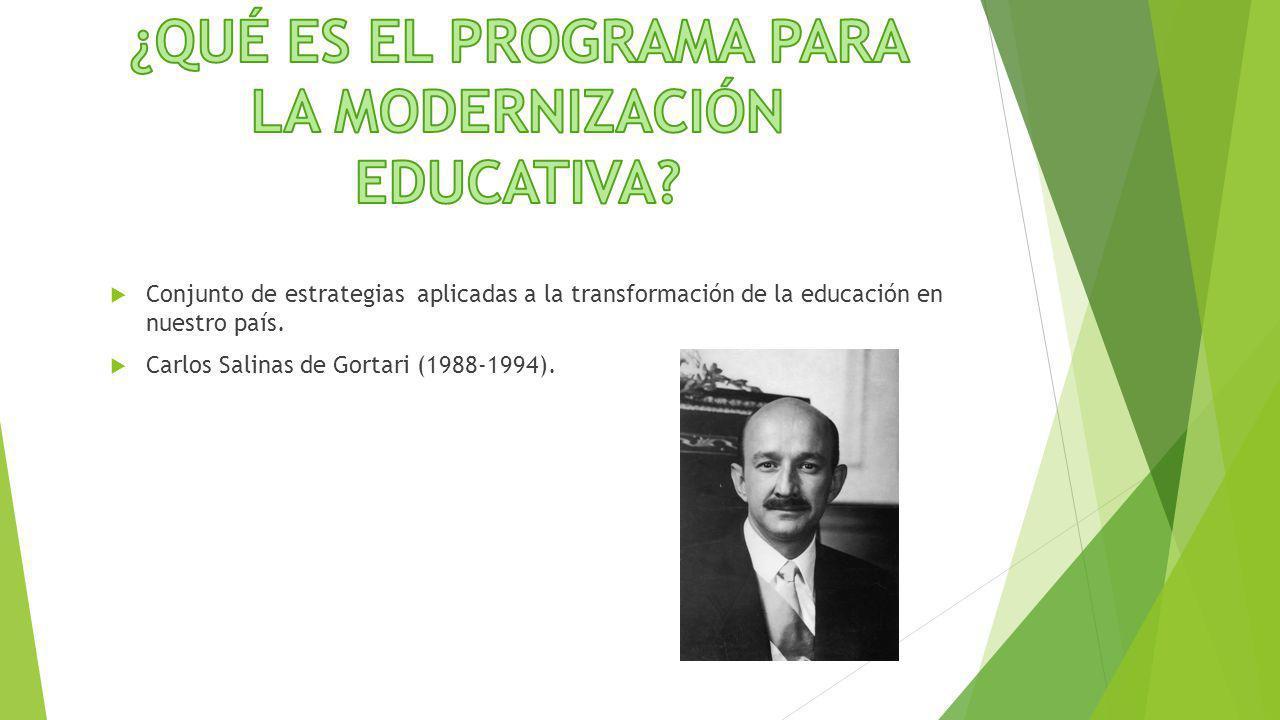 Conjunto de estrategias aplicadas a la transformación de la educación en nuestro país. Carlos Salinas de Gortari (1988-1994).