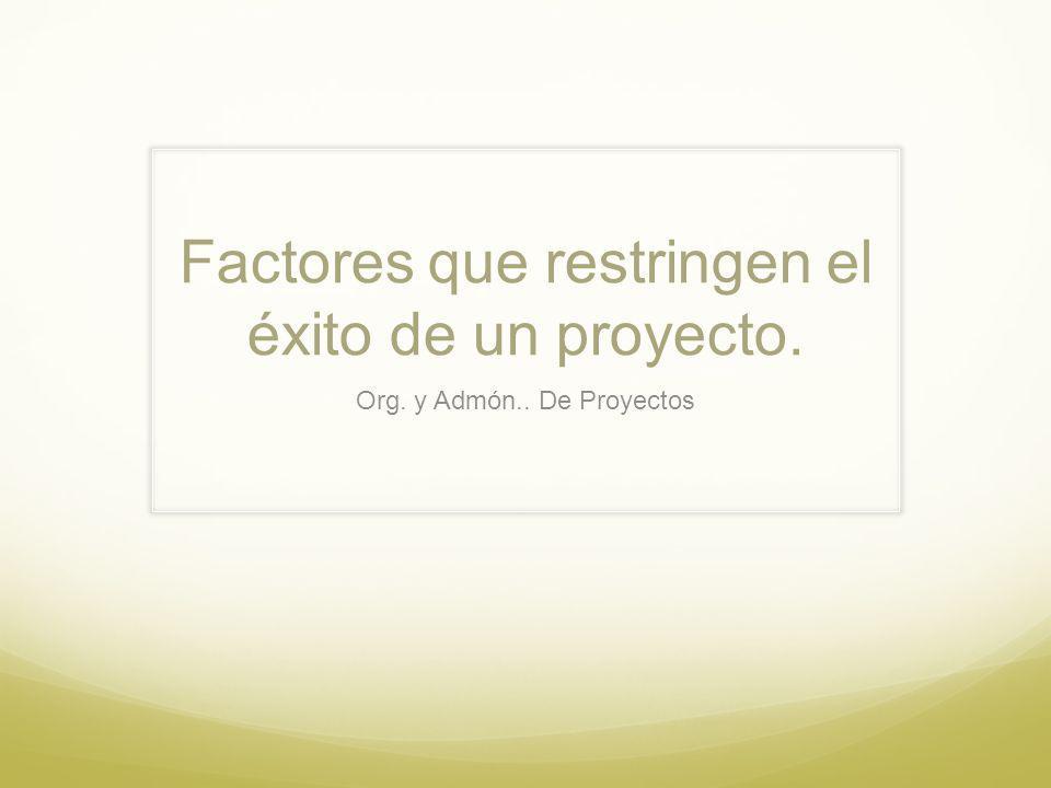 Factores que restringen el éxito de un proyecto. Org. y Admón.. De Proyectos