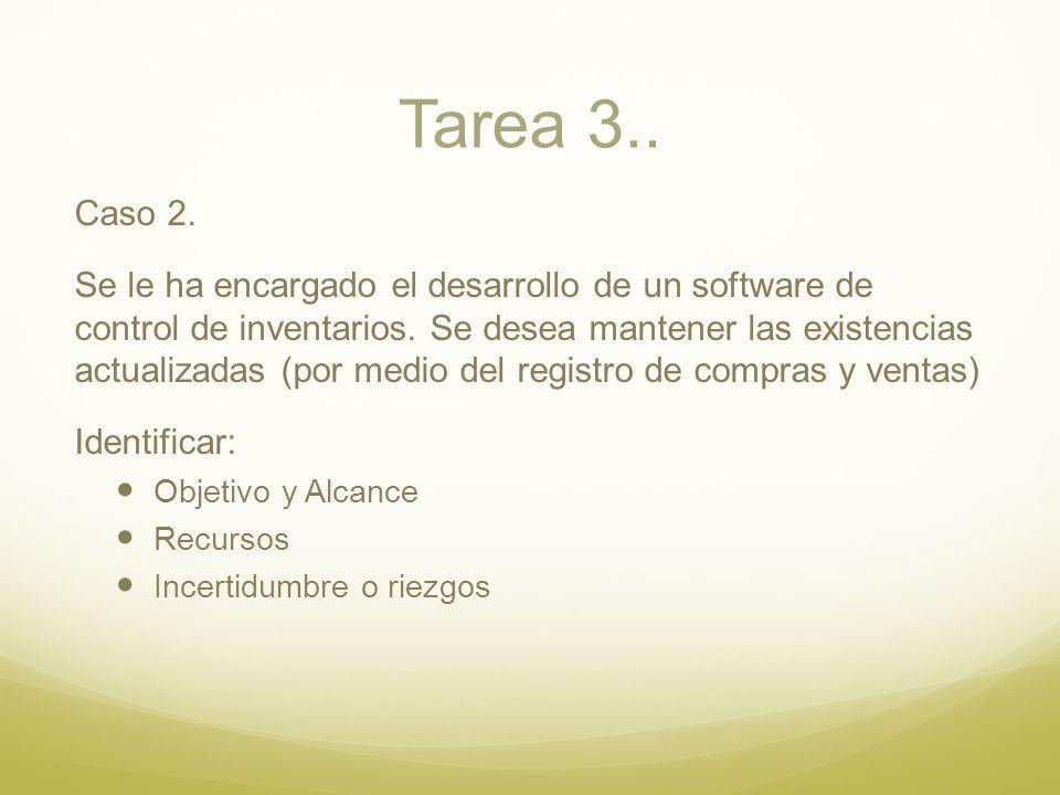Tarea 3.. Caso 2. Se le ha encargado el desarrollo de un software de control de inventarios. Se desea mantener las existencias actualizadas (por medio