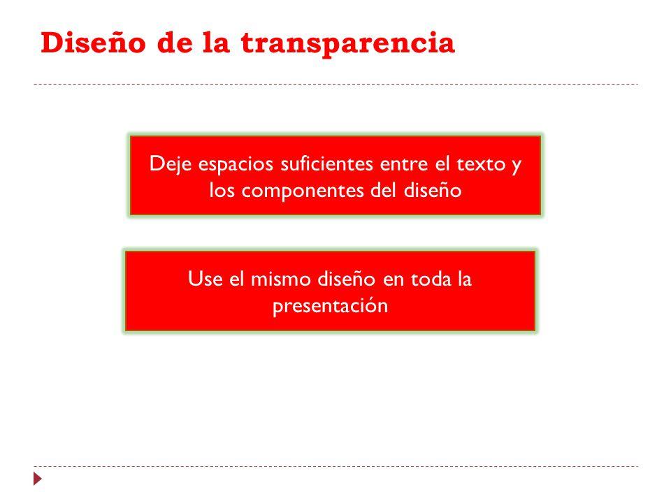 Diseño de la transparencia Deje espacios suficientes entre el texto y los componentes del diseño Use el mismo diseño en toda la presentación
