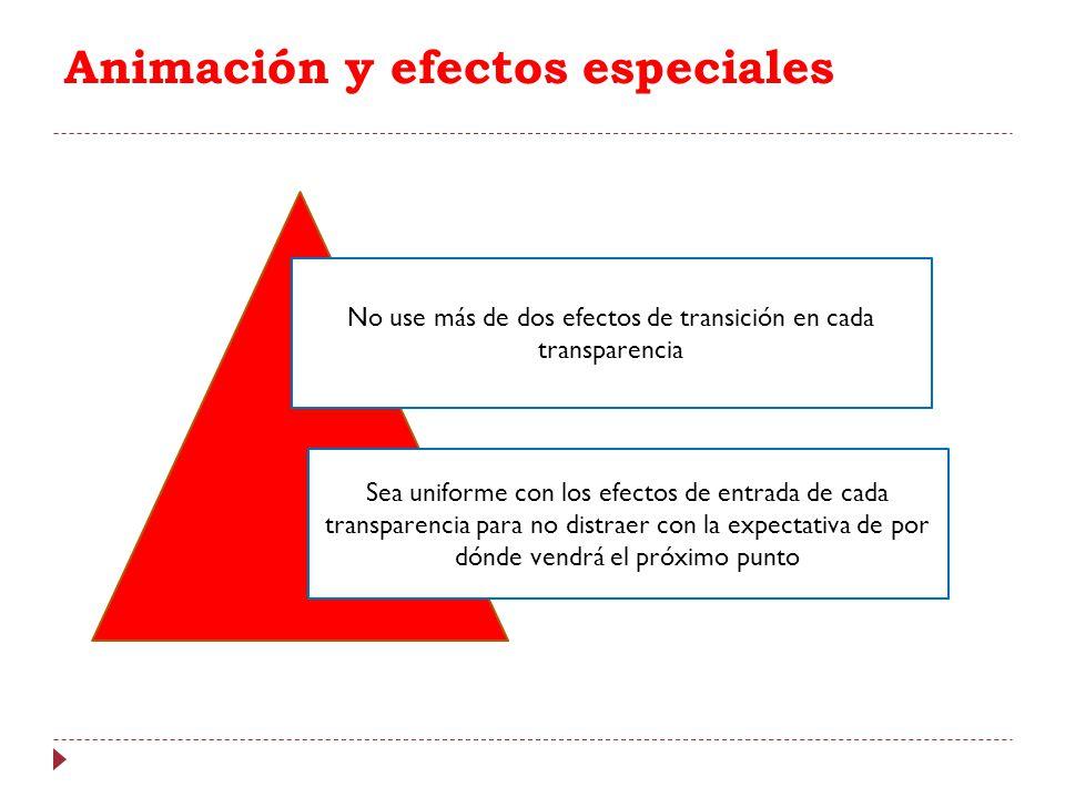 Animación y efectos especiales No use más de dos efectos de transición en cada transparencia Sea uniforme con los efectos de entrada de cada transpare