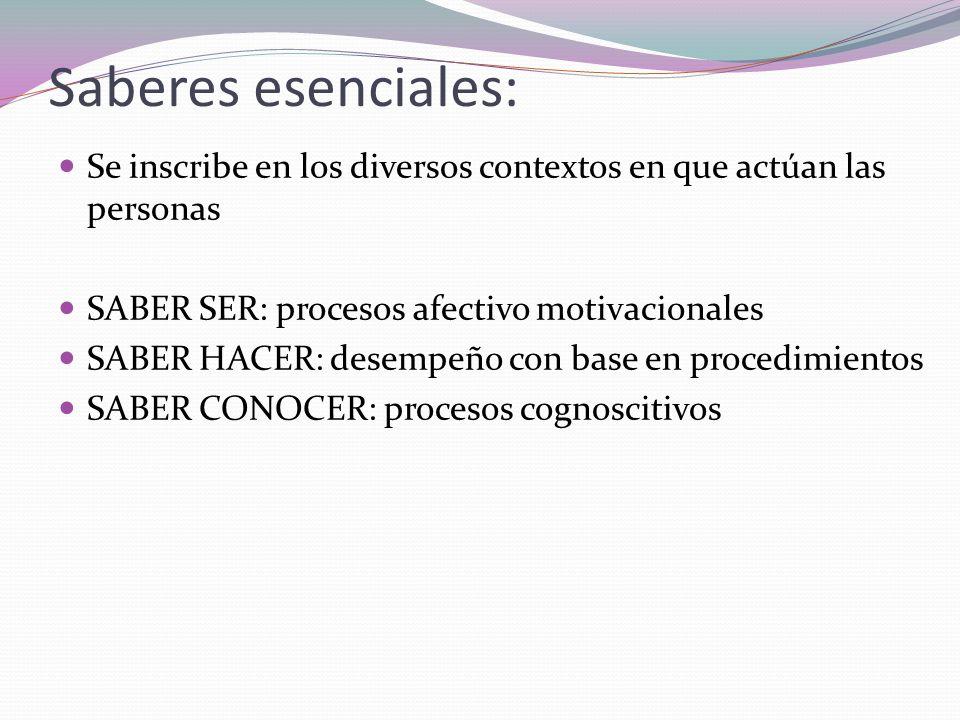 Saberes esenciales: Se inscribe en los diversos contextos en que actúan las personas SABER SER: procesos afectivo motivacionales SABER HACER: desempeñ