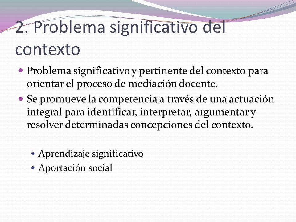 2. Problema significativo del contexto Problema significativo y pertinente del contexto para orientar el proceso de mediación docente. Se promueve la