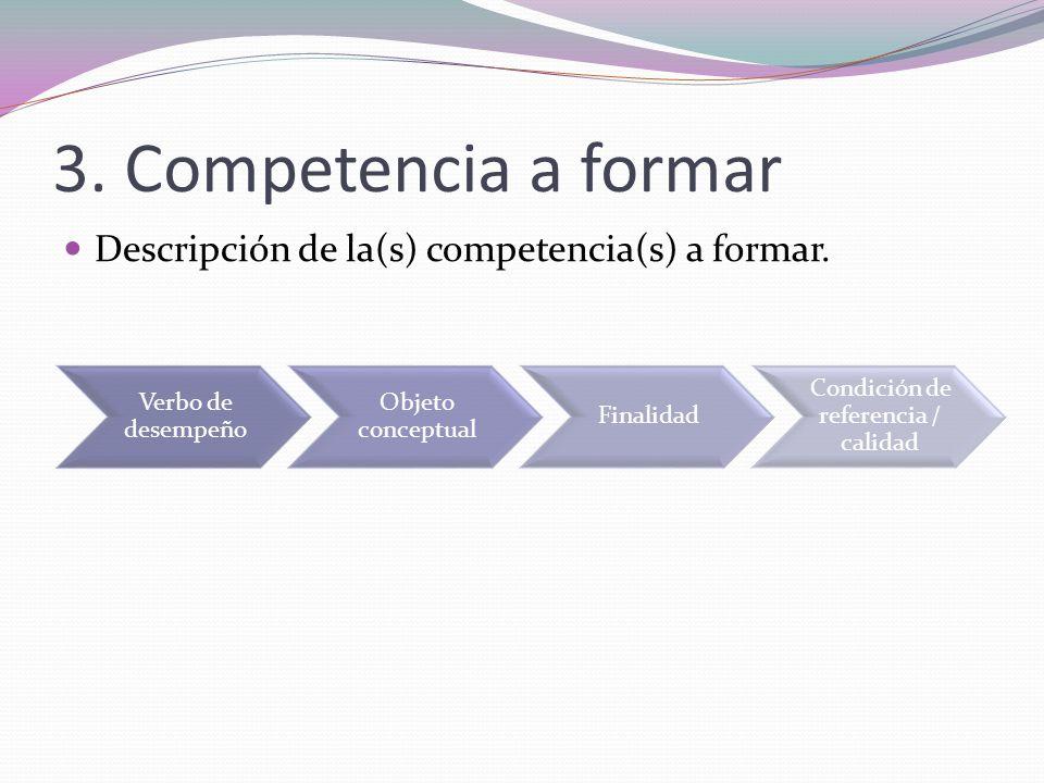 3. Competencia a formar Descripción de la(s) competencia(s) a formar. Verbo de desempeño Objeto conceptual Finalidad Condición de referencia / calidad