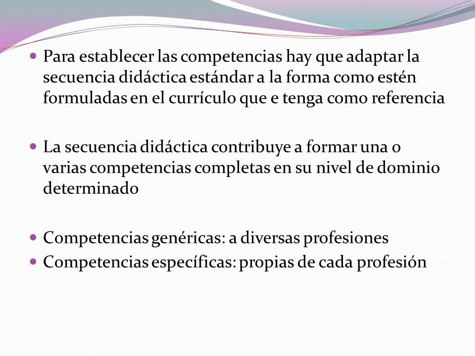 Para establecer las competencias hay que adaptar la secuencia didáctica estándar a la forma como estén formuladas en el currículo que e tenga como ref