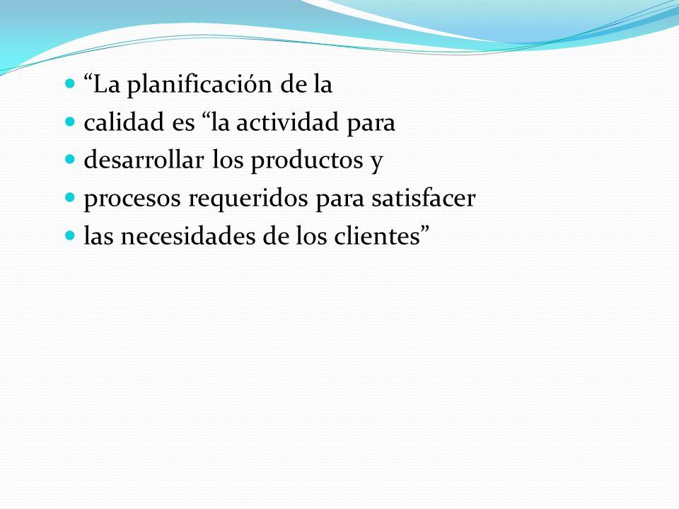 La planificación de la calidad es la actividad para desarrollar los productos y procesos requeridos para satisfacer las necesidades de los clientes