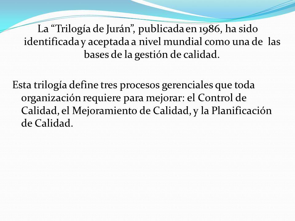 La Trilogía de Jurán, publicada en 1986, ha sido identificada y aceptada a nivel mundial como una de las bases de la gestión de calidad. Esta trilogía