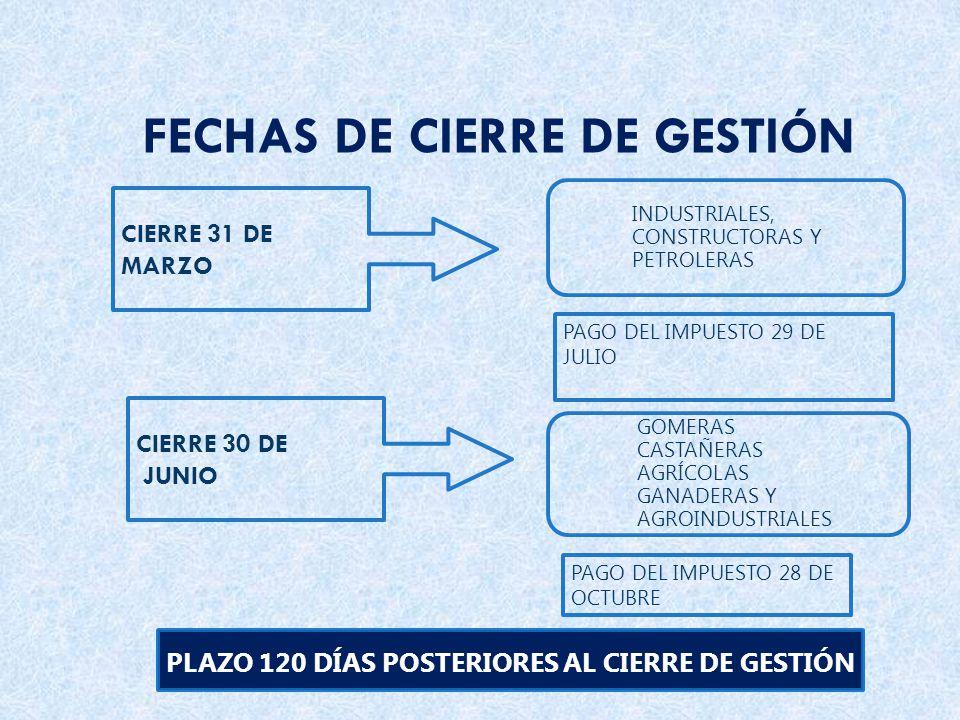 CIERRE 31 DE MARZO INDUSTRIALES, CONSTRUCTORAS Y PETROLERAS PAGO DEL IMPUESTO 28 DE OCTUBRE PLAZO 120 DÍAS POSTERIORES AL CIERRE DE GESTIÓN CIERRE 30 DE JUNIO GOMERAS CASTAÑERAS AGRÍCOLAS GANADERAS Y AGROINDUSTRIALES PAGO DEL IMPUESTO 29 DE JULIO FECHAS DE CIERRE DE GESTIÓN