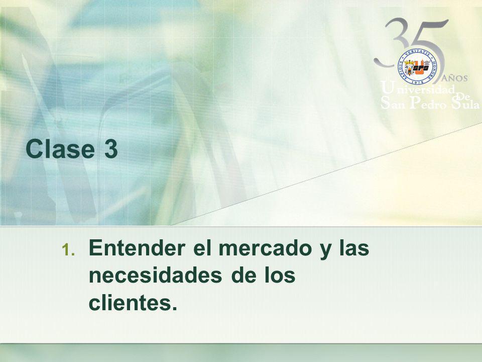 Clase 3 1. Entender el mercado y las necesidades de los clientes.
