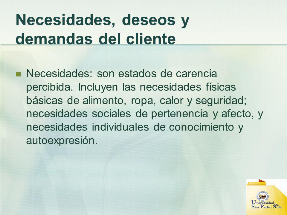 Necesidades, deseos y demandas del cliente Necesidades: son estados de carencia percibida.