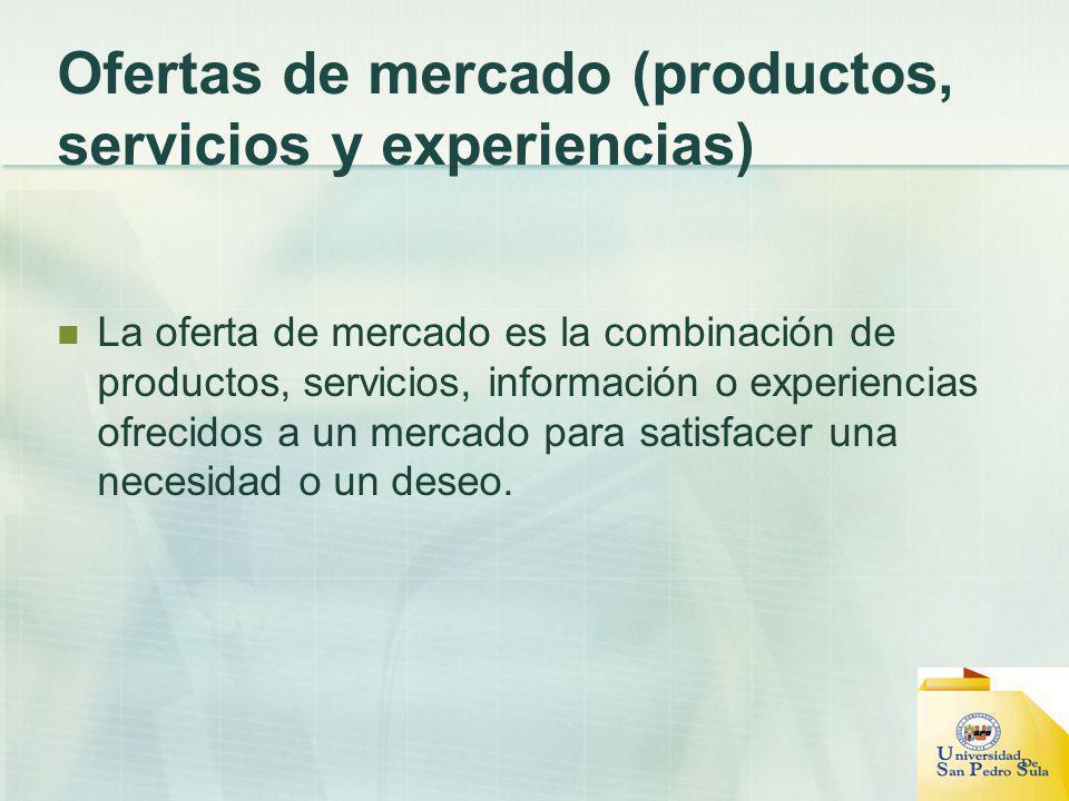 Ofertas de mercado (productos, servicios y experiencias) La oferta de mercado es la combinación de productos, servicios, información o experiencias ofrecidos a un mercado para satisfacer una necesidad o un deseo.