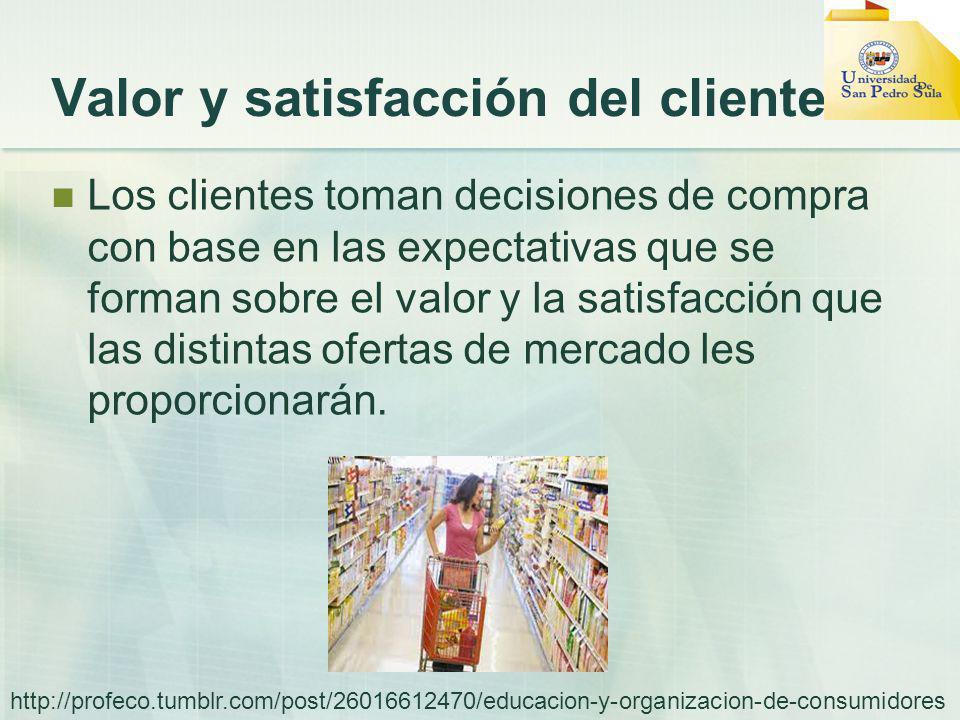 Valor y satisfacción del cliente Los clientes toman decisiones de compra con base en las expectativas que se forman sobre el valor y la satisfacción que las distintas ofertas de mercado les proporcionarán.
