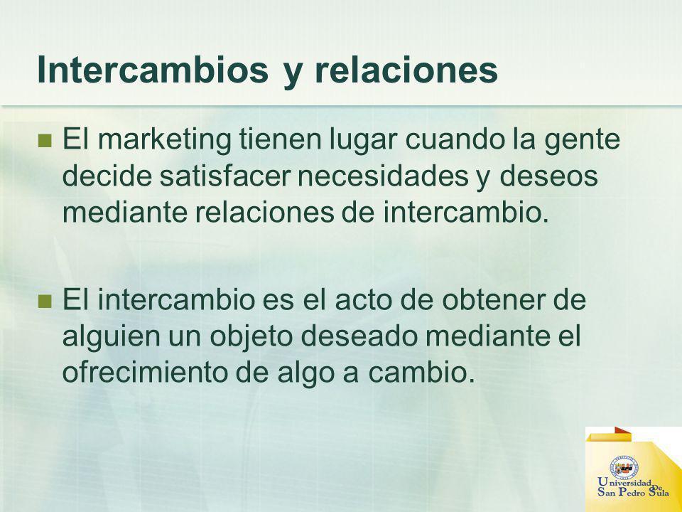 Intercambios y relaciones El marketing tienen lugar cuando la gente decide satisfacer necesidades y deseos mediante relaciones de intercambio. El inte