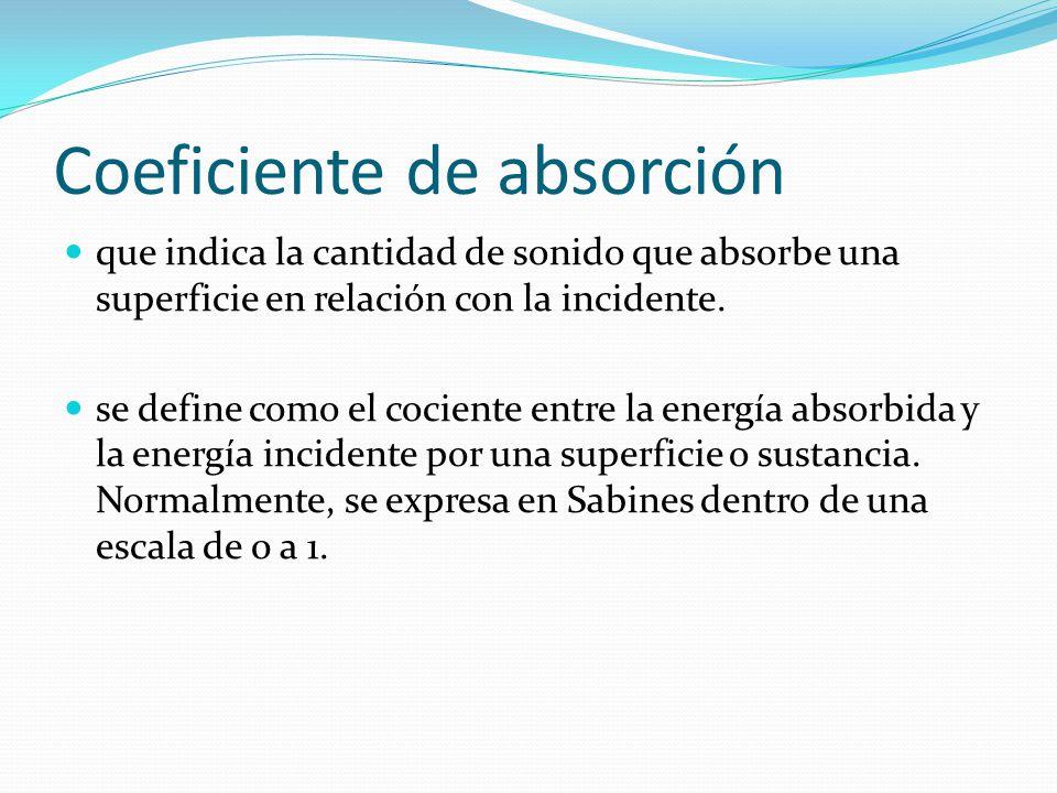 Coeficiente de absorción que indica la cantidad de sonido que absorbe una superficie en relación con la incidente. se define como el cociente entre la