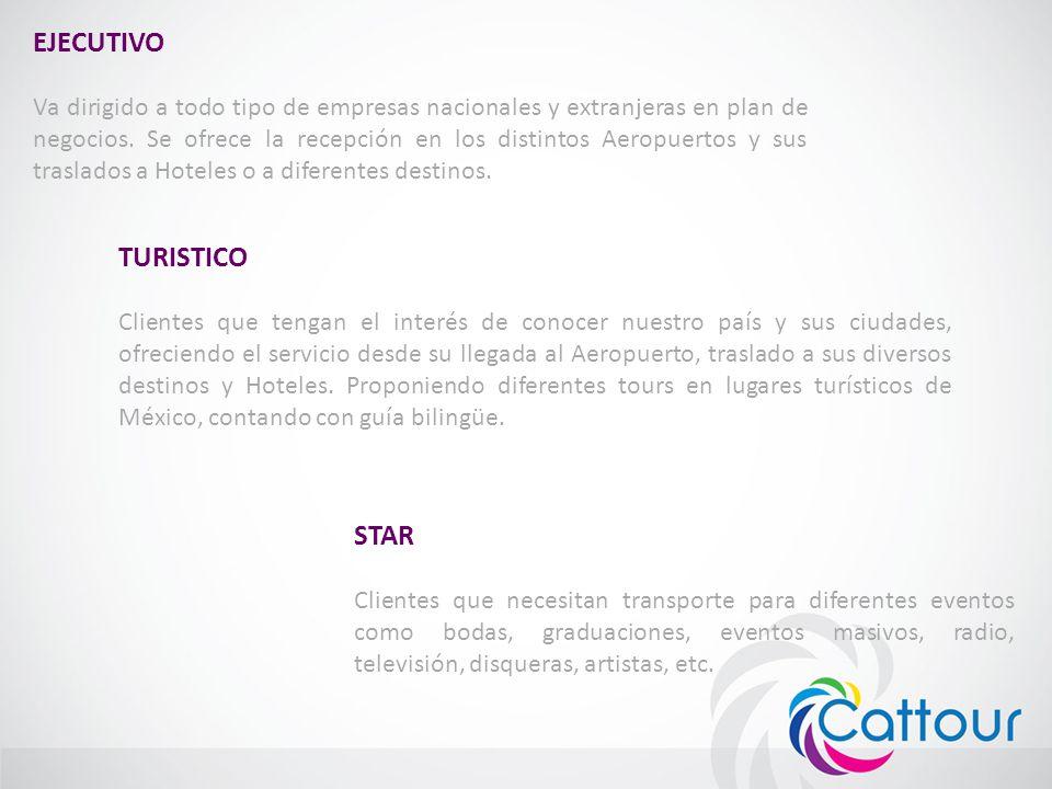 EJECUTIVO Va dirigido a todo tipo de empresas nacionales y extranjeras en plan de negocios. Se ofrece la recepción en los distintos Aeropuertos y sus