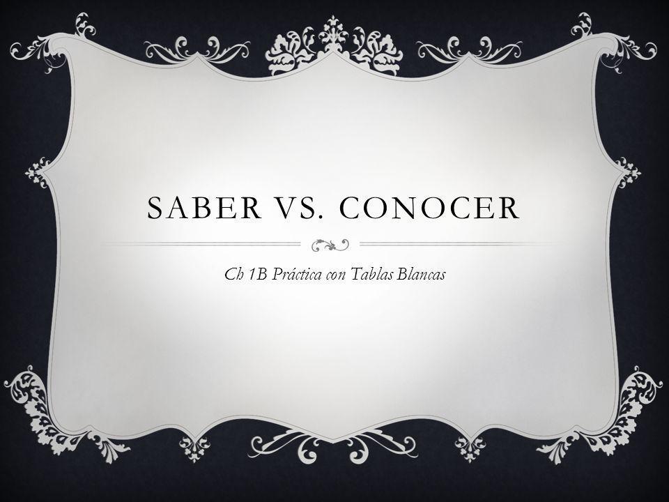SABER VS. CONOCER Ch 1B Práctica con Tablas Blancas
