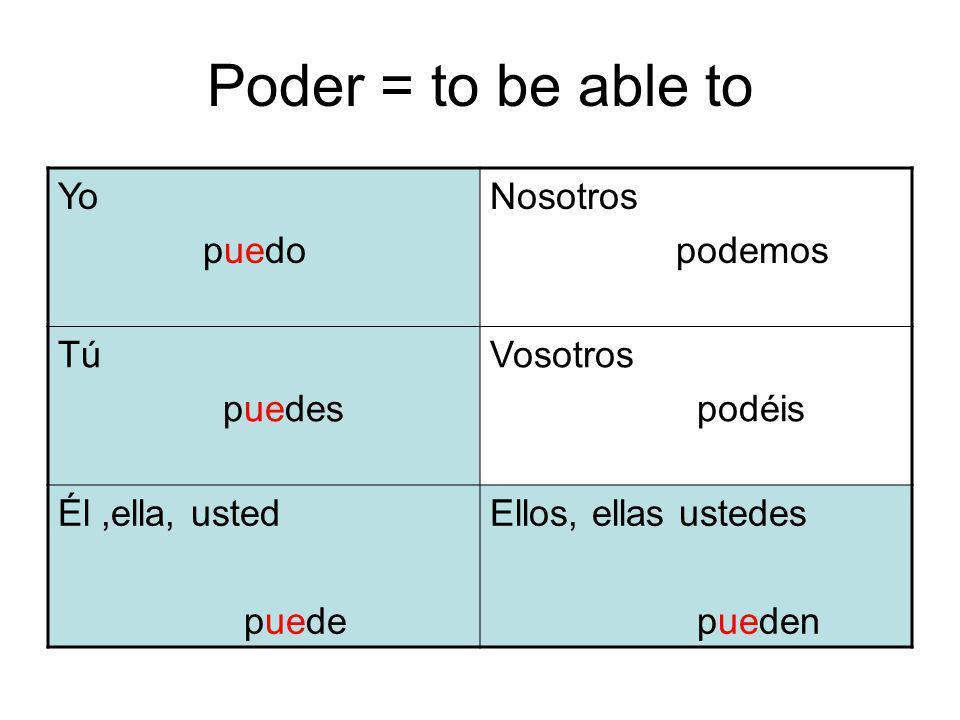 Deber, Necesitar, Querer, and Poder are often followed by the infinitive Yo debo ir al centro comercial para comprar regalos.