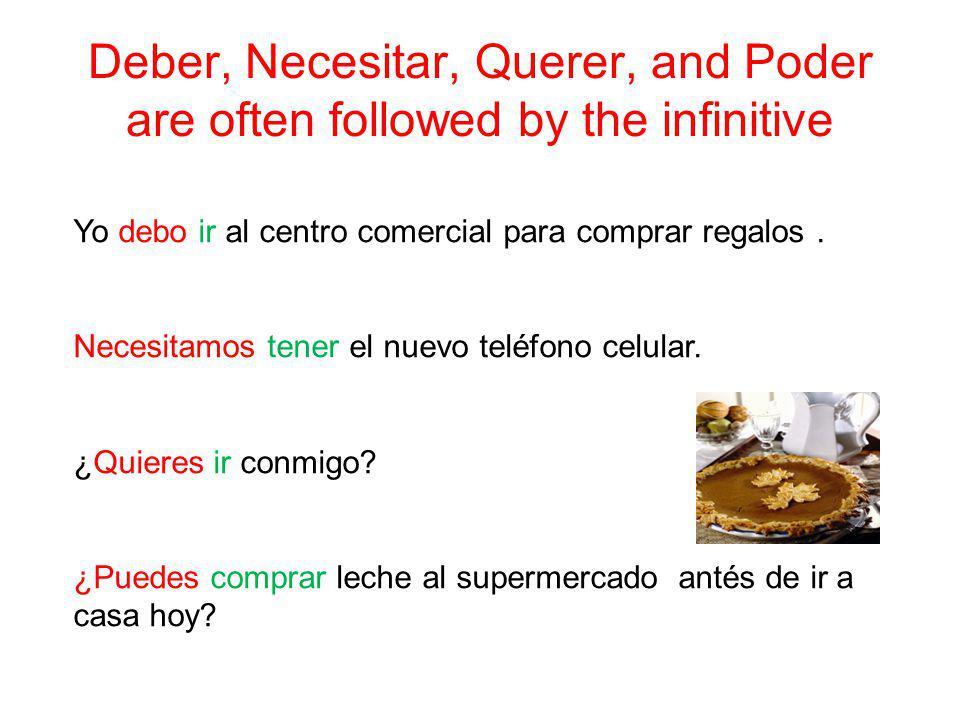 Deber, Necesitar, Querer, and Poder are often followed by the infinitive Yo debo ir al centro comercial para comprar regalos. Necesitamos tener el nue