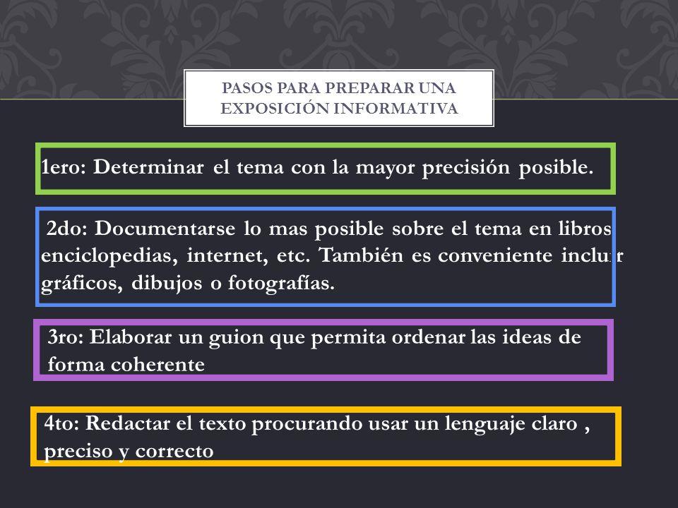 1ero: Determinar el tema con la mayor precisión posible. 2do: Documentarse lo mas posible sobre el tema en libros, enciclopedias, internet, etc. Tambi