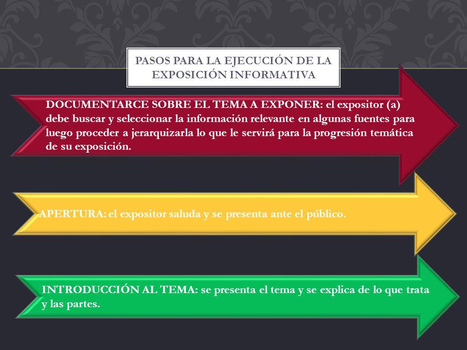 PASOS PARA LA EJECUCIÓN DE LA EXPOSICIÓN INFORMATIVA DOCUMENTARCE SOBRE EL TEMA A EXPONER: el expositor (a) debe buscar y seleccionar la información r