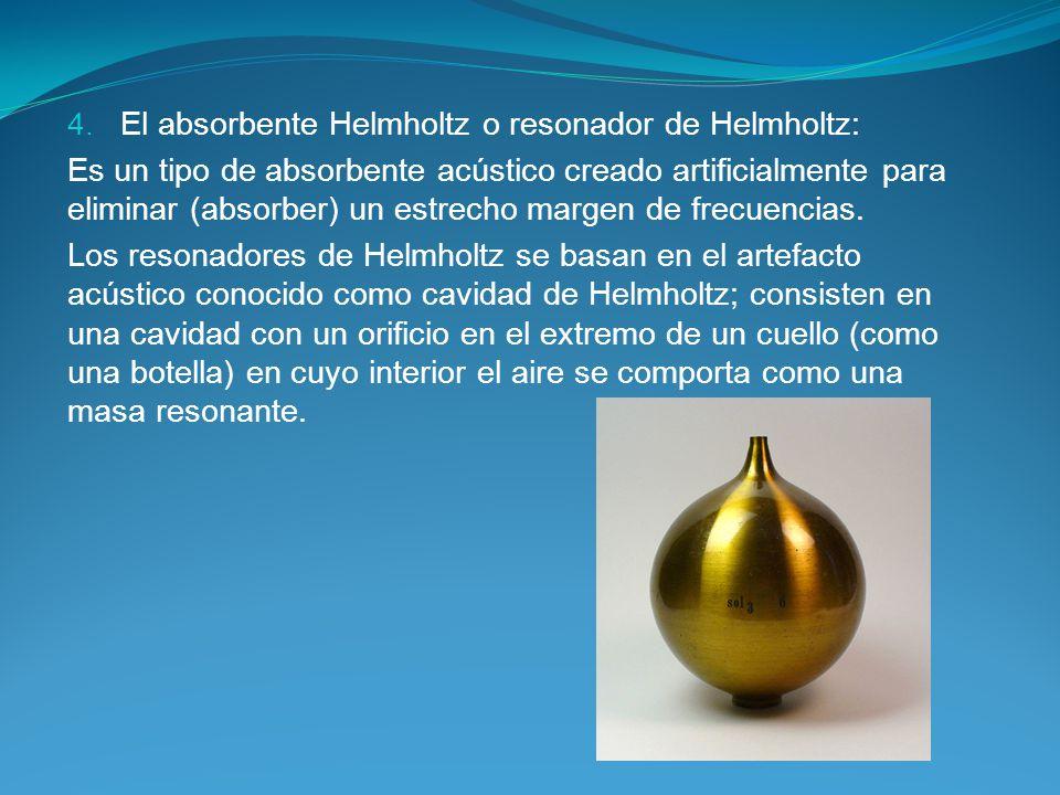 4. El absorbente Helmholtz o resonador de Helmholtz: Es un tipo de absorbente acústico creado artificialmente para eliminar (absorber) un estrecho mar