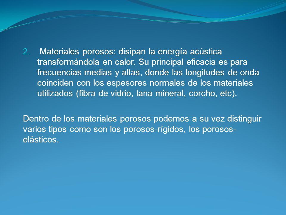 2.Materiales porosos: disipan la energía acústica transformándola en calor.