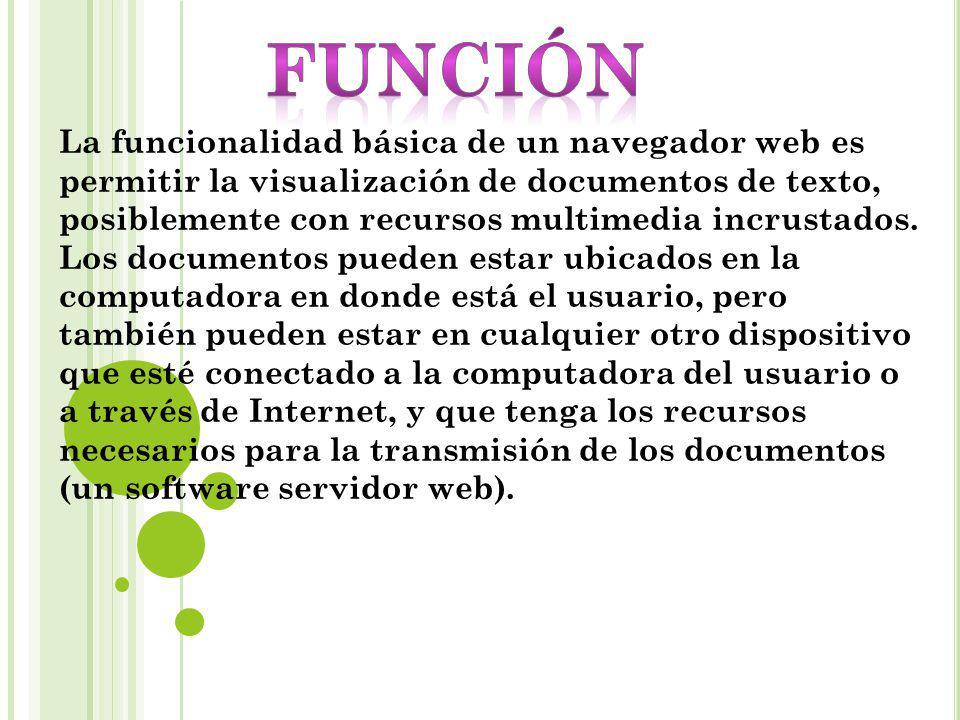 La funcionalidad básica de un navegador web es permitir la visualización de documentos de texto, posiblemente con recursos multimedia incrustados. Los