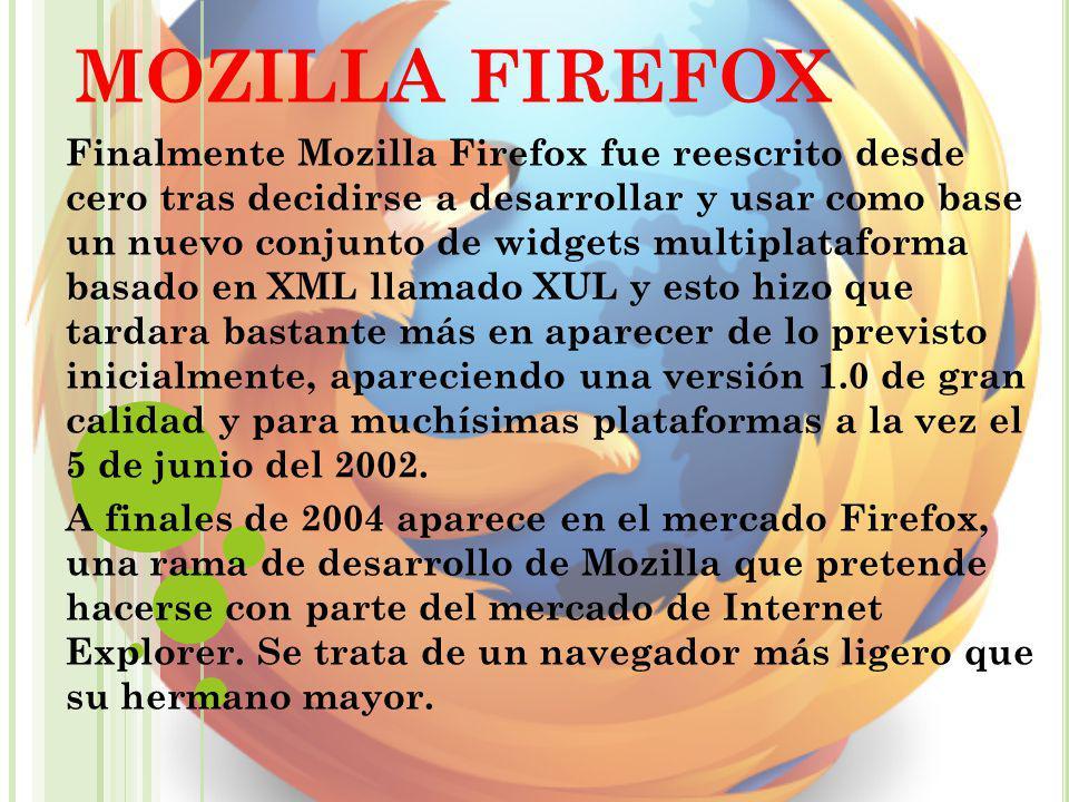 MOZILLA FIREFOX Finalmente Mozilla Firefox fue reescrito desde cero tras decidirse a desarrollar y usar como base un nuevo conjunto de widgets multipl