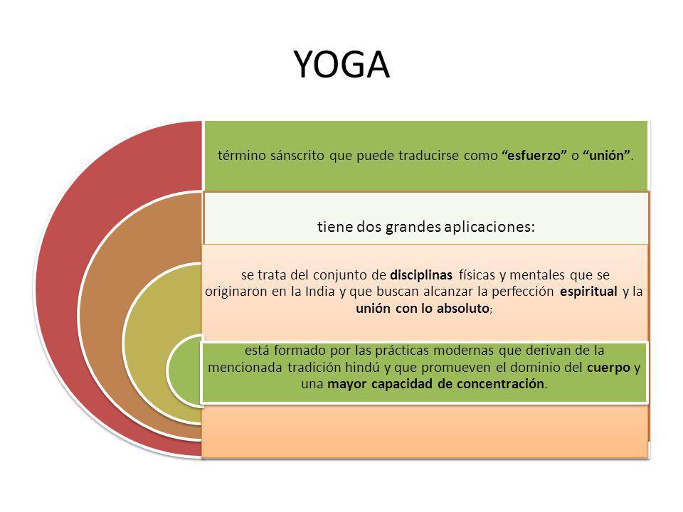 YOGA término sánscrito que puede traducirse como esfuerzo o unión. tiene dos grandes aplicaciones: se trata del conjunto de disciplinas físicas y ment