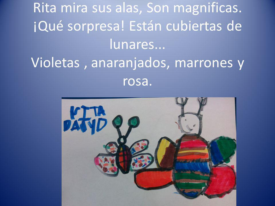 Rita mira sus alas, Son magnificas. ¡Qué sorpresa! Están cubiertas de lunares... Violetas, anaranjados, marrones y rosa.