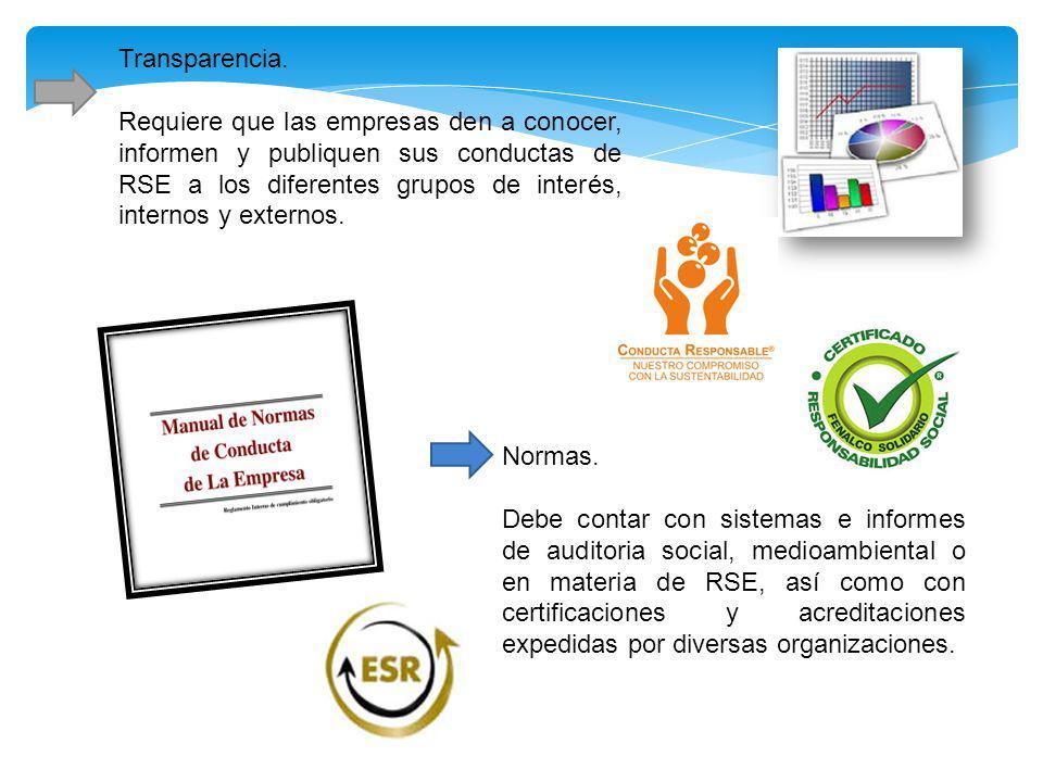 Transparencia. Requiere que las empresas den a conocer, informen y publiquen sus conductas de RSE a los diferentes grupos de interés, internos y exter