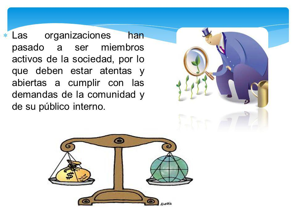 Las organizaciones han pasado a ser miembros activos de la sociedad, por lo que deben estar atentas y abiertas a cumplir con las demandas de la comuni