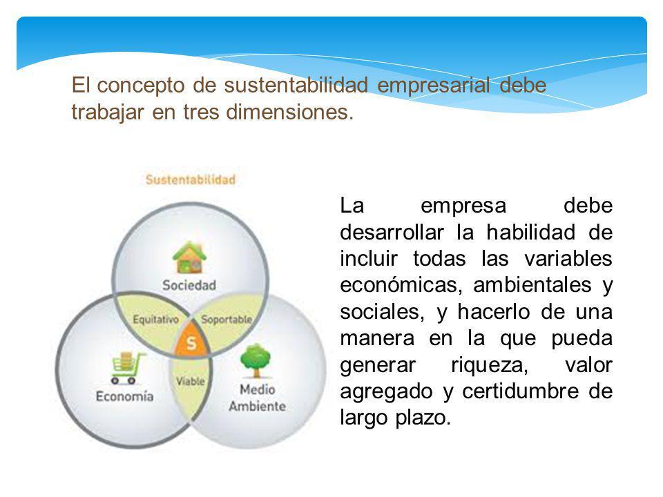 El concepto de sustentabilidad empresarial debe trabajar en tres dimensiones. La empresa debe desarrollar la habilidad de incluir todas las variables